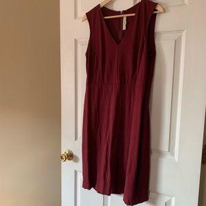 LOFT Sleeveless Burgundy Dress